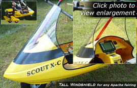 Tall Windshield for North Wing Apache light sport aircraft fairings